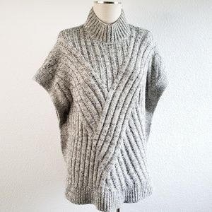 LOFT Heathered Gray Knit Poncho Sweater E3